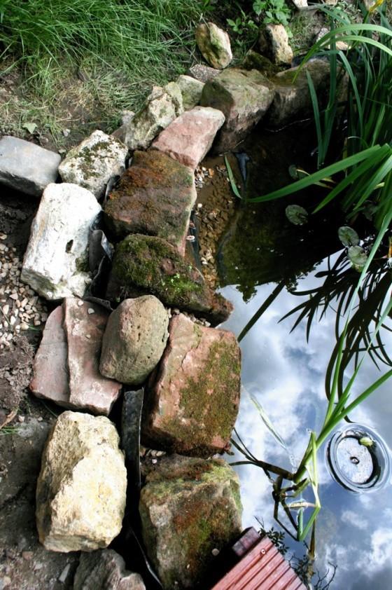 Die Folie wurde ausgegraben und zwischen den Steinen hochgezogen. Do liegen die zum Teich gewandten Steine im Wasser.